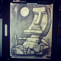 Contemplative Moai with Hanging Moon by rawjawbone