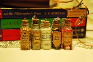 Harry Potter Bottle Necklaces by 11faced