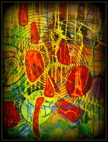 yellow red abstract tos by santosam81