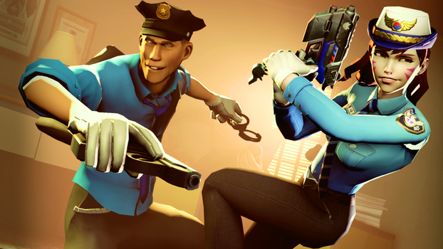 Officer D.va and Scout by RazzionTER