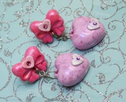 Pink Bow and Heart Earrings by DarkRaven17