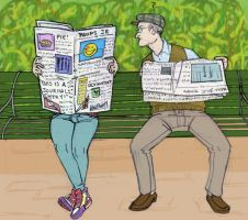 Afternoon Newspaper by Paups