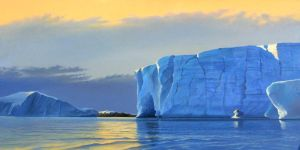 Icebergs at Sunset by cliffwass