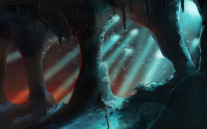 Snowfall in a fiery cave /speedpaint by RGBfumes