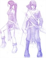 Warrior elf -female and male by Olath124