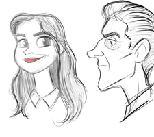Day 177 - Sketches of Clara and the Doctor by Percevanche