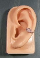 Small Rose Quartz and Pink Wire Ear Cuff by HeatherJordanJewelry