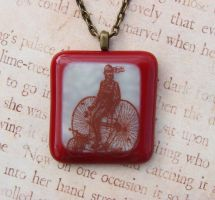 Tricycle Rider Fused Glass Pendant by FusedElegance