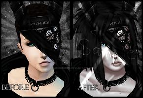 Before and after IMVU edit by charmdemon