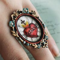 Hand Drawn/Painted Sacred Heart Ring - image 2 by asunder