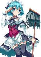 Blue Hair Maid Render by Totoro-GX