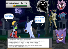 Michael Jackson Appears to Gold and Lugia by DarkraDx