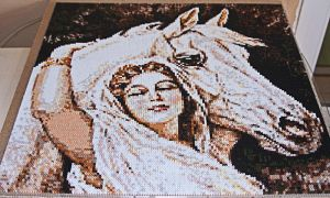 Perler beads / Hama perler Woman with white Horse by Kirikina