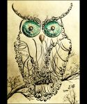 Owl Calligraphy by RoiYik