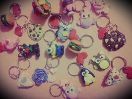 Polymer Clay Keychains by kittyangelprincess