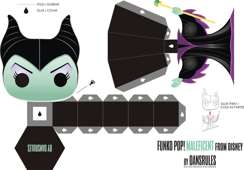 Funko Pop! Maleficent from Disney Papertoy by dansrules