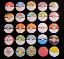 All 25 pokeballs as pins by Rosewine