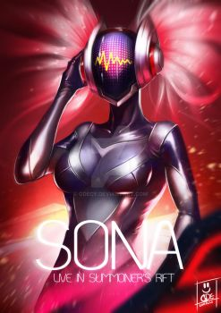 (Concussive) Dj. Sona League Of Legend Fanart by GDecy