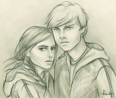 Katniss and Peeta by kimpertinent