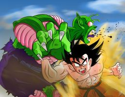 Goku vs Piccolo Jr REMASTERED by BattenfelderART