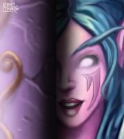 night elf hidden behind column by DiosaWoW