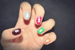 Skittles nails by ssilverartist