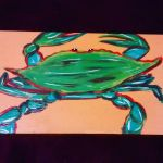 Painted Wooden Board- Blue Crab II by JadasArtVision