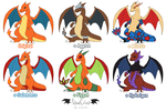 Charizard Variations / Hybrids (Adoptables) by VibrantEchoes