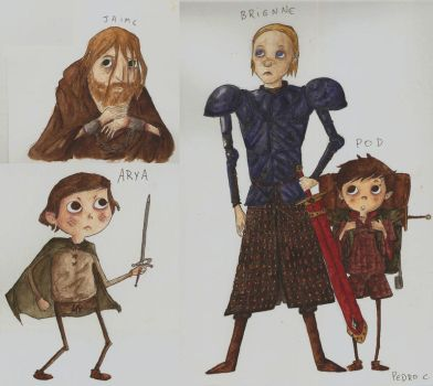 James, Arya, Brienne and Pod by caracolescente