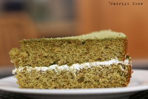 Green tea sponge cake 1 by patchow