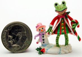 Frog GIRL Holiday Snowman BABY by WEE-OOAK-MINIATURES