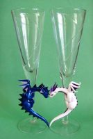Dragon Wedding Flutes by DragonsAndBeasties