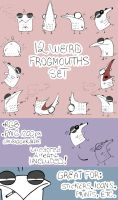 12 weird frogmouths set (for sale) by Little-Blind-Chicken