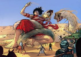 Giantess Vs Worms by xavor85