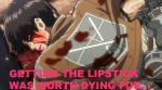 Attack On FASHION!- Eren: Lipstick 2 by QueenOfCuteChibis