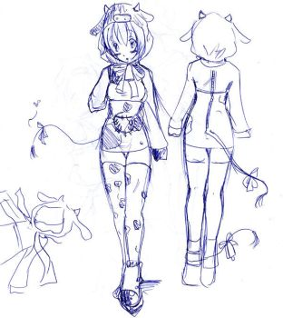 Cow girl desing firts step xD by Lokheart