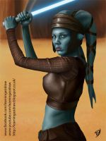 Aayla Secura jedi Star Wars fan art digital paint by Learningasidraw