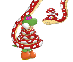 Quickie: Yoshi and the Mushroom Serpent! by Crafty-Cobra