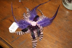 Purple Pink and Black Feather Hair Fascinator by Rakshka-Nikushimi