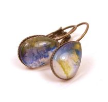 Olive Green Blue Melted Crayon Earrings by annjepsen