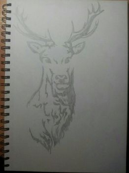 stag's head tattoo by 10fang711
