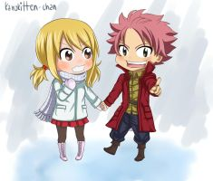 chibi winter NaLu by Karokitten-chan