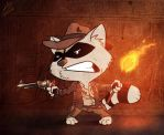 Indiana Jones Raccoon by devilhs
