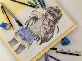 Anime Girl with Headphones - Colored Pencils by Amana-Jackson