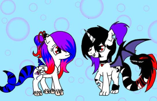 my oc with my bff by LordOceanPearl