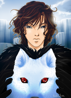 Jon Snow and Ghost by hidechan