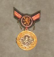 Burnished Copper and Red Lion Cthulhu War Medal 3 by Windthin