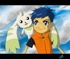 Henry Wong and Terriermon by tussensessan