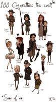 Hundred Cigarettes cast - chibi-ish version by trenchWeasel