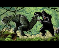 King Kong Vs. T-Rex in Colour by SasaBralic